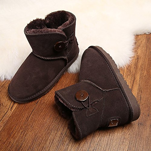 [Women 's winter snow boots cowhide Button boots warm hairy fluffy cotton shoes ( Color : Brown , Size : US:7.5\UK:6.5\EUR:40 )] (Brown Hairy Feet)