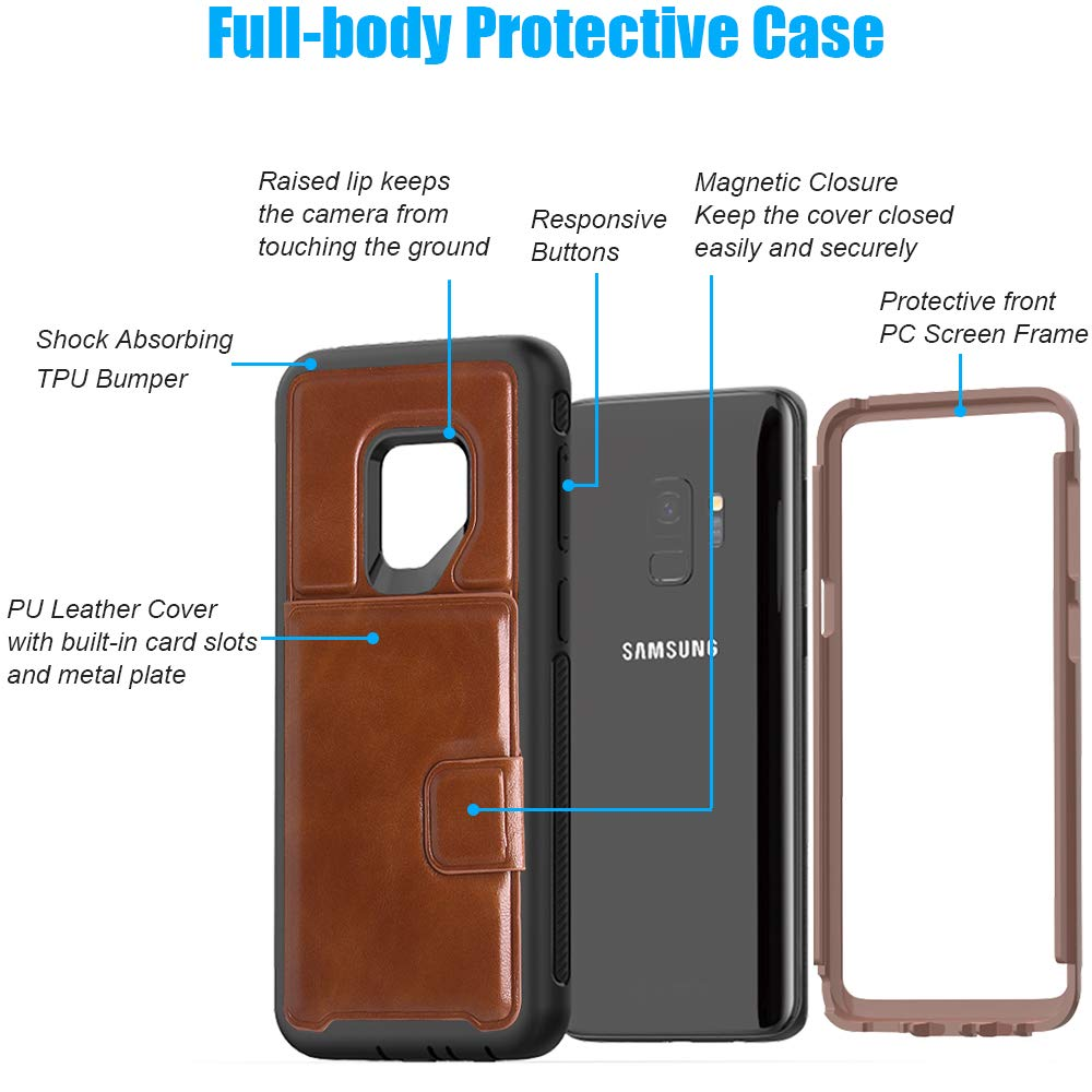 SXcase Samsung Galaxy S9 Case with Card Holder, Leather Shockproof Dustproof Phone Wallet Case for Samsung Galaxy S9(5.8 inch) for Men [Brown]