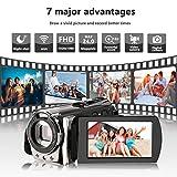 Camcorders,Kenuo 1080P 24MP HD WiFi Digital video Camera, 3.0TFT LCD IR Night Vision 16X Digital Zoom Stabilization 270 Degree Rotation Screen Camera Bag Lithium Battery