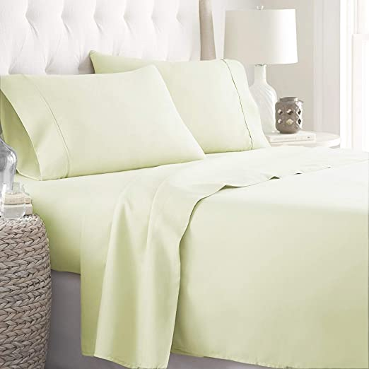1000TC Egyptian Cotton 1pc  FITTED SHEET Sateen Sage Stripe