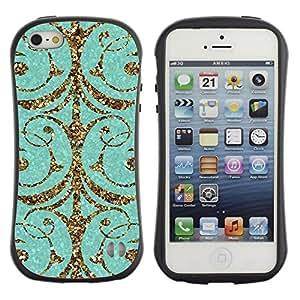 """Hypernova Slim Fit Dual Barniz Protector Caso Case Funda Para Apple iPhone SE / iPhone 5 / iPhone 5S [Patrón del brillo del oro Puerta Espumoso""""]"""