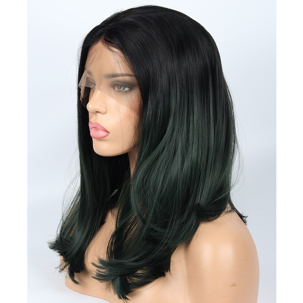 vvBing Short Dark Green Bob Cut Lace Front Wigs Glueless Synthetic Wigs Two Tones Ombre Dark Roots to Green Short Hair Natural Looking Straight Heat Resistant Bob Wigs for Women 16inch