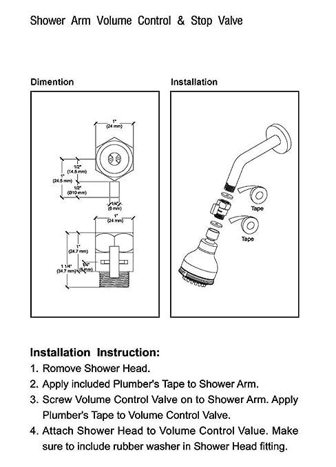 Doxwater BRASS Shower Flow Control Valve Water Pressure Reducing Controller  Hand Held Sprayer Head Supply Shut Off Stop Switch Universal Replacement  Part, ...