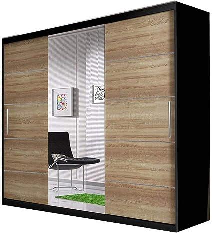 mb-moebel Armario con Puertas correderas con Espejo, Barra y balda para Dormitorio, salón, diseño Moderno, 250 cm Elba: Amazon.es: Juguetes y juegos