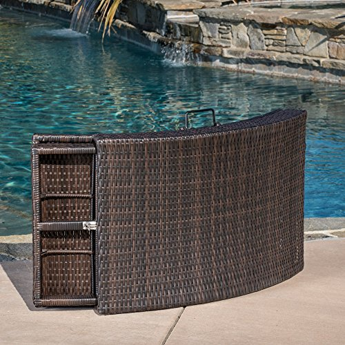 Great Deal Furniture Maureen Outdoor Multibrown PE Wicker Folding Chaise Lounge Chair