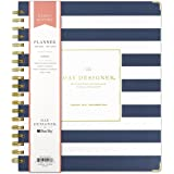 """Day Designer for Blue Sky 2019 Weekly & Monthly Planner, Hardcover, Twin-Wire Binding, 8"""" x 10"""", Navy Stripe Design"""