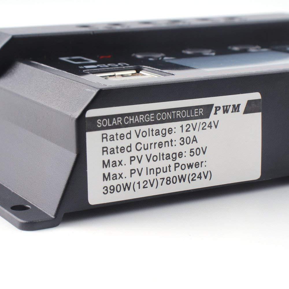 Negro Heraihe Controlador de Cargador Solar port/átil con Panel Solar de 30 A y regulador de bater/ía con Pantalla LCD Digital 12 24V Auto USB