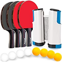 Ping Pong Set with Retractable Table Tennis Net and Posts, Portable Table Tennis Set with 4 Professional Ping Pong Paddles, 8 Balls, 1 Pingpong Net for Any Tables and 1 Storage Case by Venoya