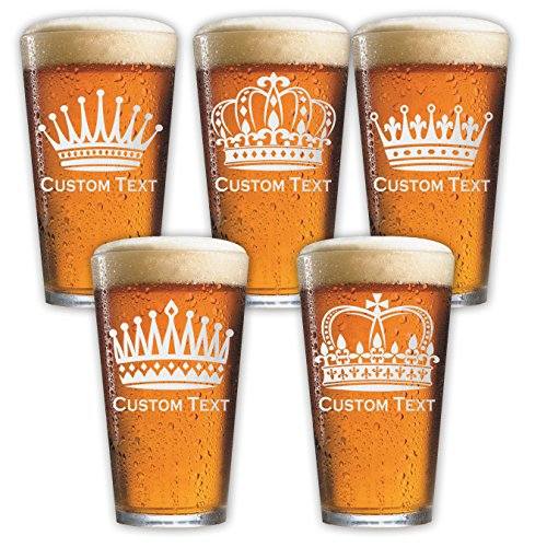 Royalty 16oz Pint/Mixing Glass (one) 6+ Crowns w/ your Custom Text