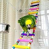 Parrot Perch Toys, Colorful Natural Parrot Ladder Swing Toy - Pet Bird Steps Climbing Bridge Standing Perch 12 Ladders 80cm