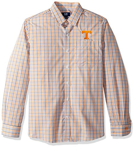 Volunteers Long Sleeve Tennessee (Cutter & Buck NCAA Tennessee Volunteers Men's Long Sleeve Gilman Plaid Shirt, X-Large, Orange Burst)