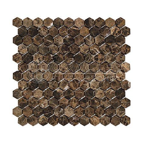 (Emperador Dark Spanish Marble 1 inch Hexagon Mosaic Tile, Tumbled)