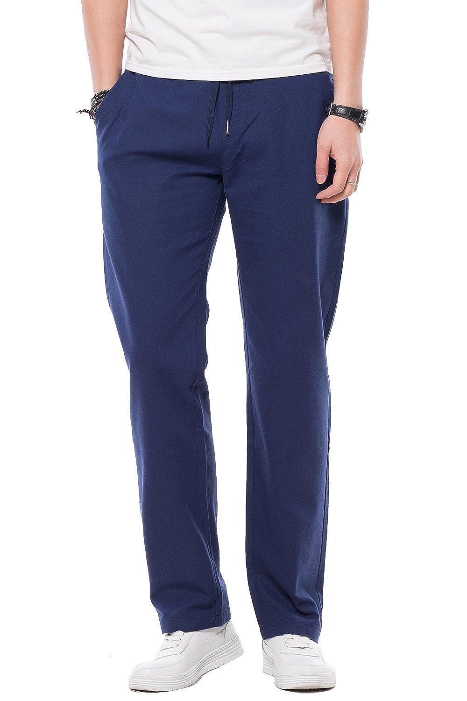 Pantalón Lino de Hombre, Estilo Casual, Regular Fit, Pantalones Casual Verano, Elegir