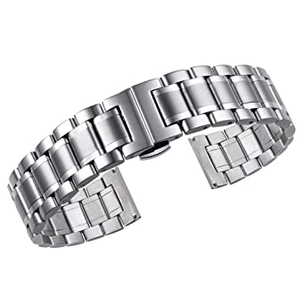 20mm Luxury Metal Watch Straps Solid Stainless Steel Heavy Type with Both Curved and Straight Ends