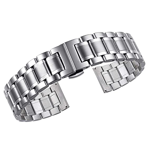 Correas de Reloj de Metal Tipo sólido de Acero Inoxidable con Extremos curvos y Rectos