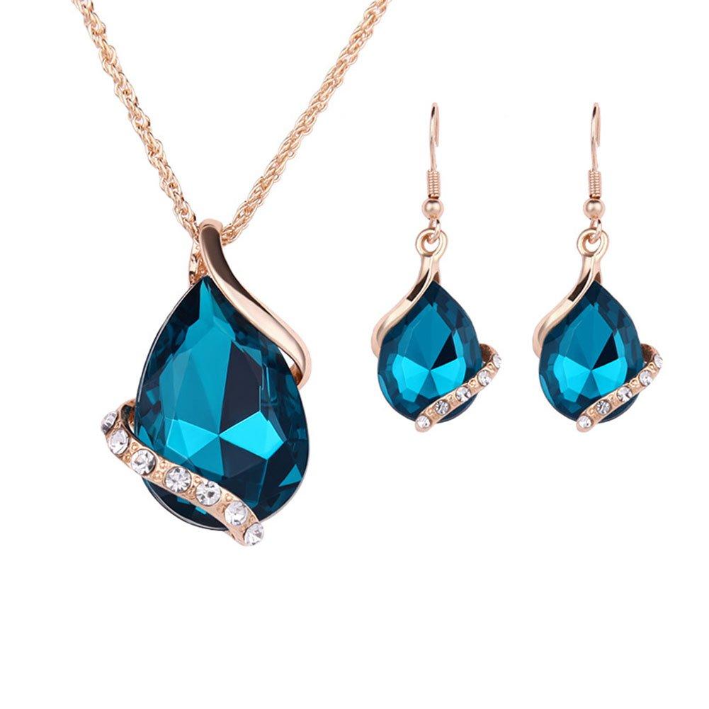 Doitsa Ensemble de Bijoux Femme Mode Simple Jewelers Collier Pendentif Boucles d'oreilles Forme de Goutte d'eau Cristal Strass Zircon Accessoires de Bijoux -Vert