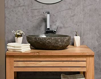 Naturstein Waschbecken 40 Cm Oval Einzeln Gepruft Und