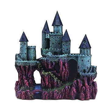 MUJING Adornos para Acuarios Resina Big Castle Acuario Suministros para Decoraciones Temáticas Tanque De Peces Plantas Acuáticas Accesorios: Amazon.es: ...