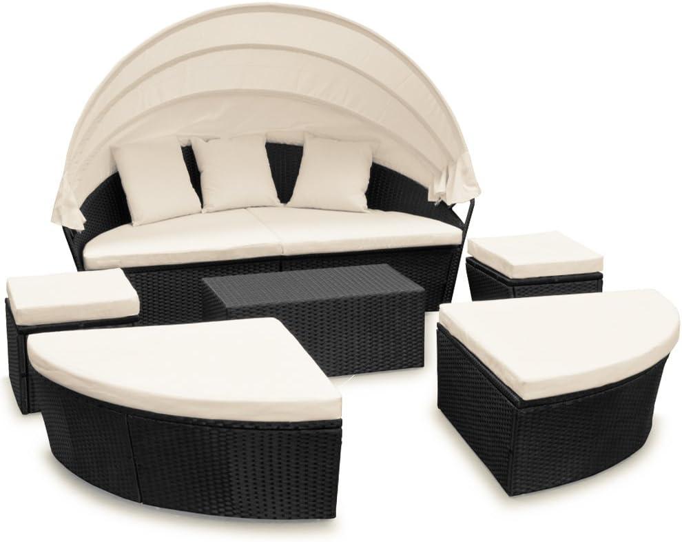 Deuba Conjunto de sillones cama isla para tomar sol ovalada poliratán 226cm negro techo plegable tumbona jardín lounge