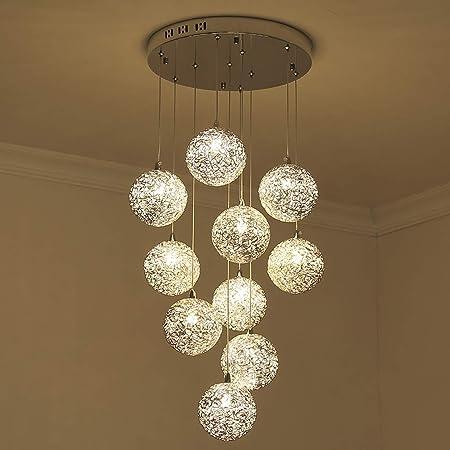 ZLJ Salón Lámpara de Techo Lámpara Colgante Escalera Moderna Sala de Estar Cocina Comedor Lámpara de araña 10 Luces de Alambre de Aluminio Bolas de Cristal Lámpara (Size : Round): Amazon.es: Hogar