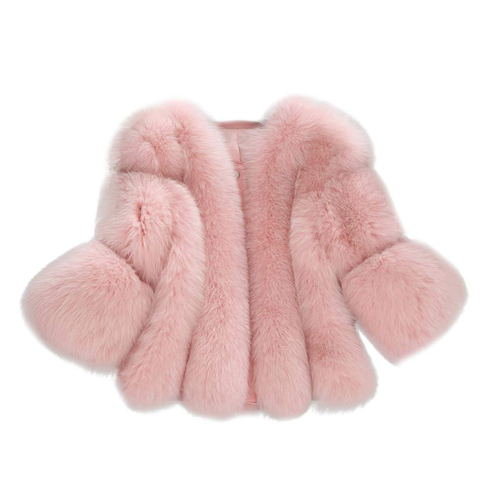 Wokasun.JJ Women Fashion Solid Jackets Fur Short Stitching Faux Fur Coat Pink S