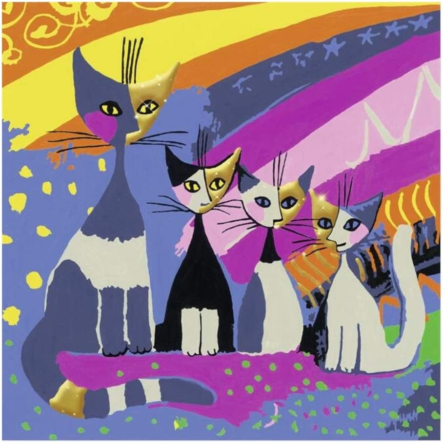 Puzzle Pintura al óleo Animal Rompecabezas - Dibujos Animados Gatos de la Familia - Arte Abstracto de Madera Rompecabezas únicos Cut Enclavamiento Regalo Piezas (520/1000/1500 Grande Pieza): Amazon.es: Hogar