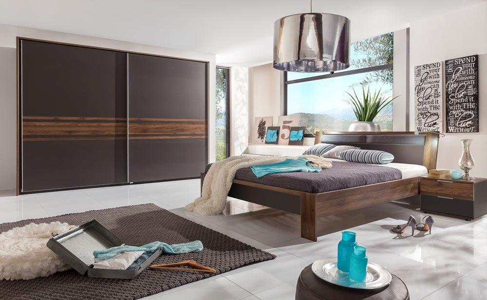 3-tlg. Schlafzimmer lavafarbig/Columbia-Nussbaum-Nachb., Kleiderschrank B: 300 cm, Futonbett B: 180 cm, 2 Nachtschränke B: 52 cm