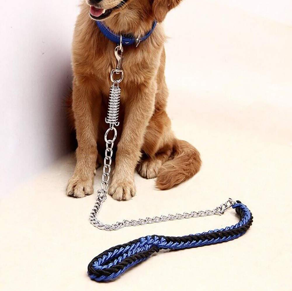 bluee X-Large bluee X-Large Nylon Woven Pet Leash Alloy Fastener Slip Lead for Dogs Nylon Comfort Handle Hand Made Explosion-Proof Adjustable Collar Suitable for Walking Strong and Sturdy 1.3m