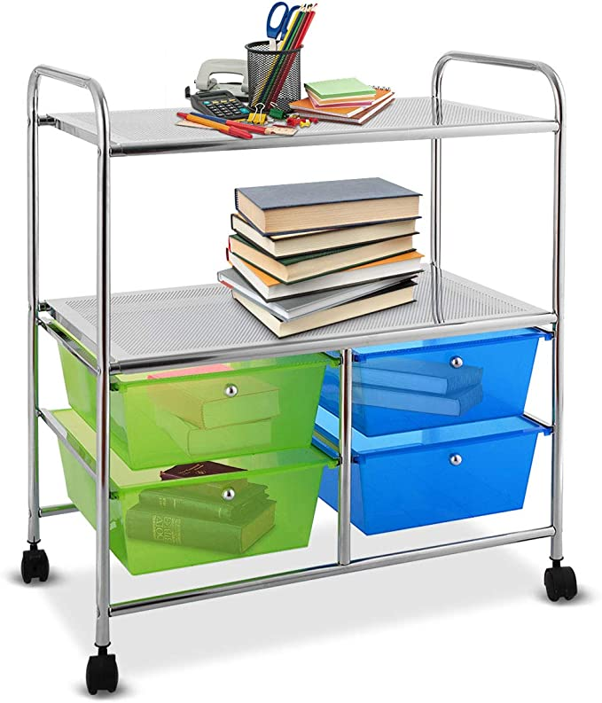 Rolling Storage Cart w// 4 Drawers 2 Shelves Metal Rack Shelf Home Office School