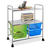 Giantex Rolling Storage Cart w/ 4 Drawers 2 Shelves Metal Rack Shelf Home Office School Beauty Salon Utility Organizer Cart with Wheels