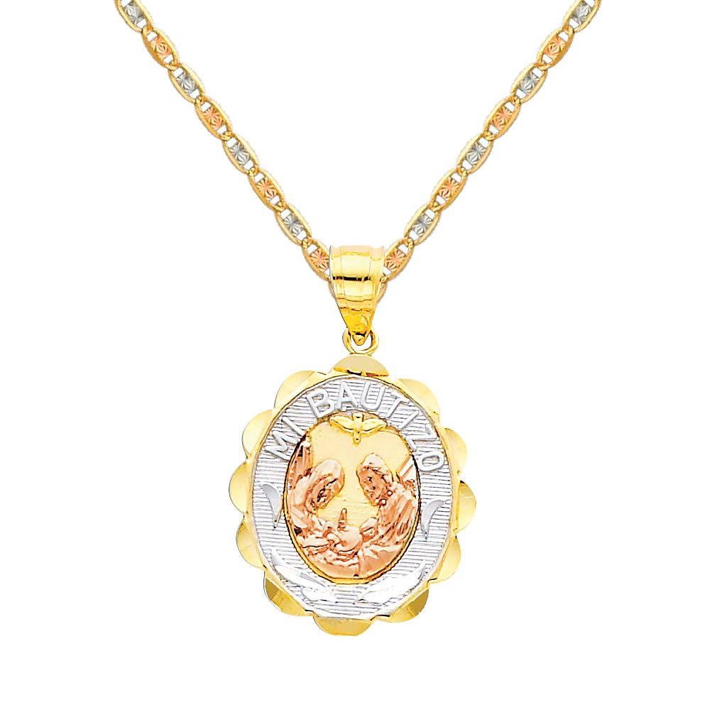 TGDJ 14k Tri-Color Gold Religious Baptism Pendant with 1.5mm Valentino Diamond Cut Chain Necklace