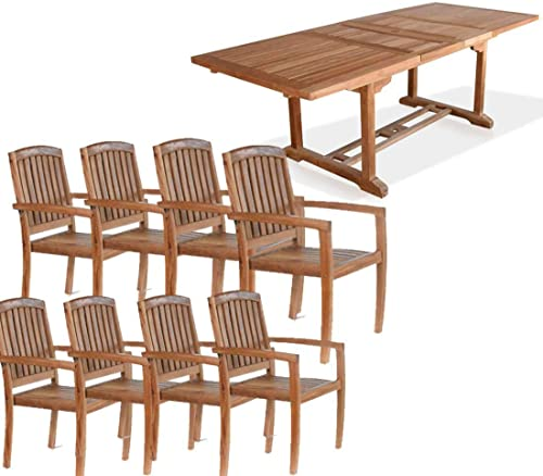 Bayview Patio New 9Pc Grade-A Teak Outdoor Dining Set-95″X40″ Rectangle Double Extension Table 8 Java Arm Chairs. Fine Sanded