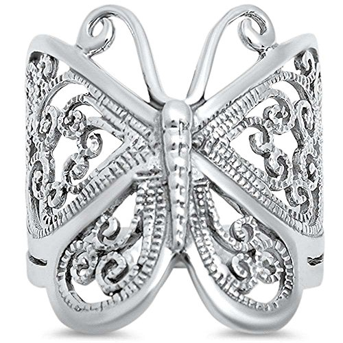 Oxford Diamond Co Filigree Butterfly .925 Sterling Silver Ring Size 11 ()