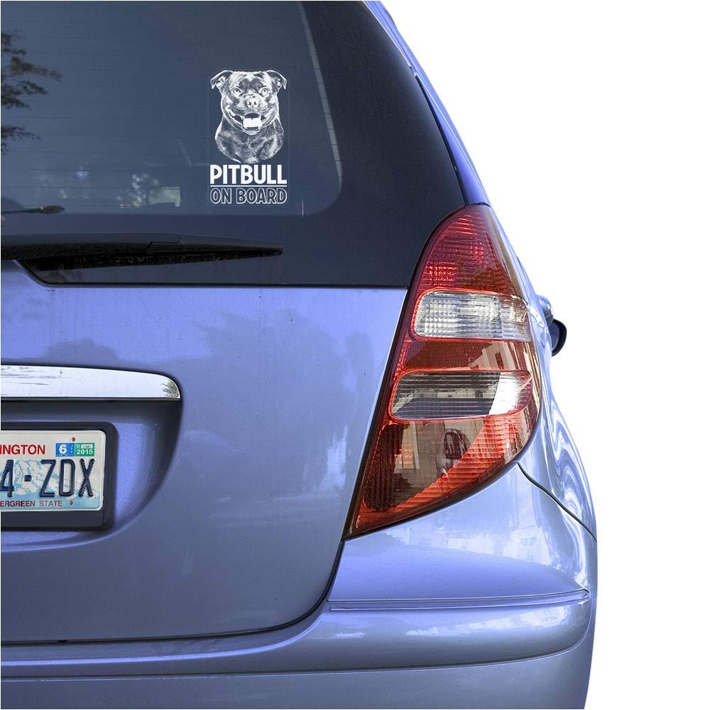Pit Bull Dog Sign Art Print Design Pitbull Clear Vinyl Decal Sticker Portrait for Window