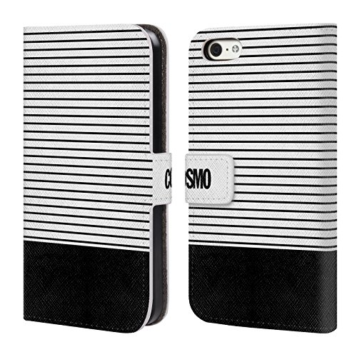 Official Cosmopolitan Black 1 Stripes Collection Leather Book Wallet Case Cover For Apple iPhone 5c