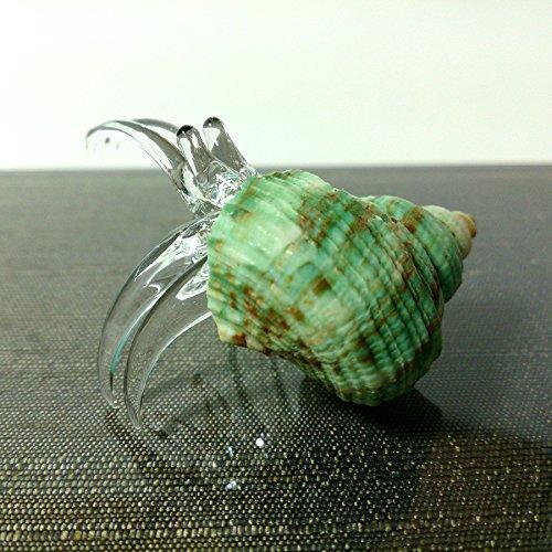 Sansukjai Seashell Hermit Crab Figurines Beach Animals Hand Blown Glass Art Natural Collectible Gift Decorate#10
