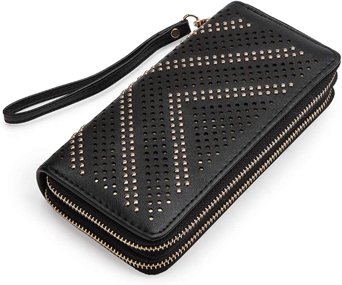 Wallets for Women Large Capacity Clutch Purse Double Zipper Credit Card Holder Rivet Organizer