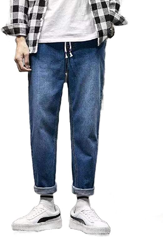 Tootess Mens Loose Lined Outwea Retro Casual Plus-Size Denim Jeans