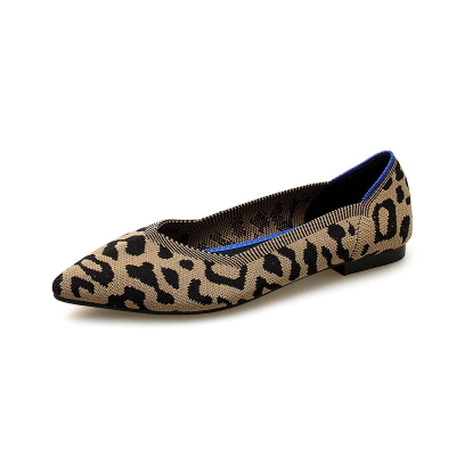 Chery-Story Womens Casual Shoes Breathable Soft Bottom Leopard-Print Knit Flat Shoes Pointed Shallow-Mouth Flats Size 35~40,Pink,6
