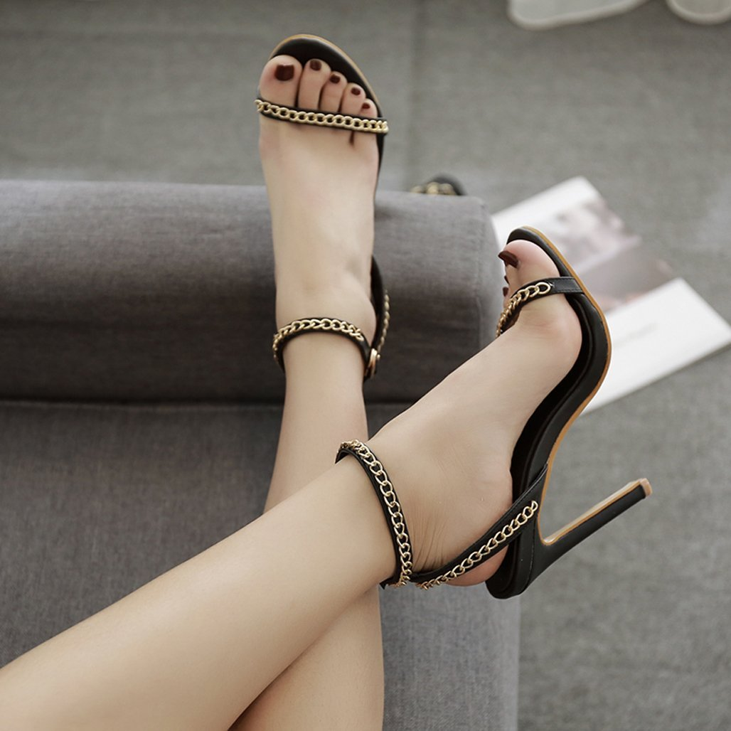 GoldGOD Frauen High Heel, Nieten Sandalen, Frauen Frauen Frauen Knöchelriemen Party Kleid High Heel,schwarz,38 c83458