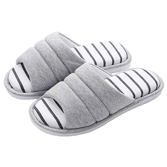 shevalues Women's Soft Indoor Slippers Open Toe Cotton Memory Foam Slip on Home Shoes House Slippers, Light Grey, 9-9.5 Women / 7.5-8 Men best women's slippers