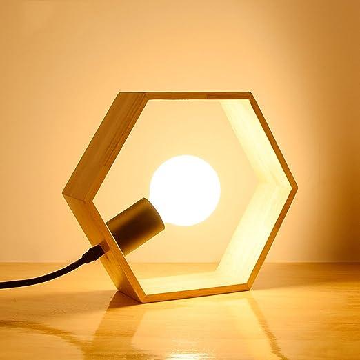 Lámpara de mesa de madera maciza, lámpara de mesa hexagonal ...