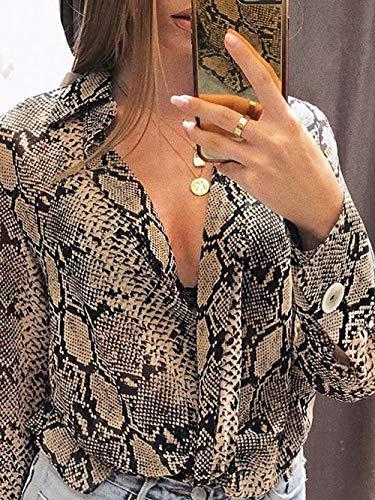 De Fiesta Impreso Mujer Blusas Top Suelta Rawdah Botón Caqui Gasa Larga Originales Casual Blusa camisetas Manga Camisa Elegantes Serpiente q4PBxXO