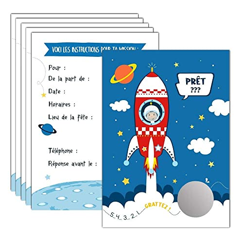 Fantastique 6 cartes d'invitation à gratter anniversaire Astronaute Fusée WT-77