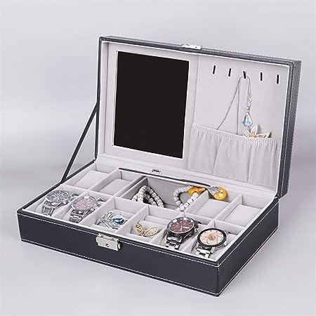 Gu3Je Joyero Caja de relojería y la joyería Caja de Almacenamiento Caja de Relojes con Espejo y la Caja de la mancuerna para Guardar Joyas (Color : Black, Size : 33x20x8.5cm): Amazon.es: