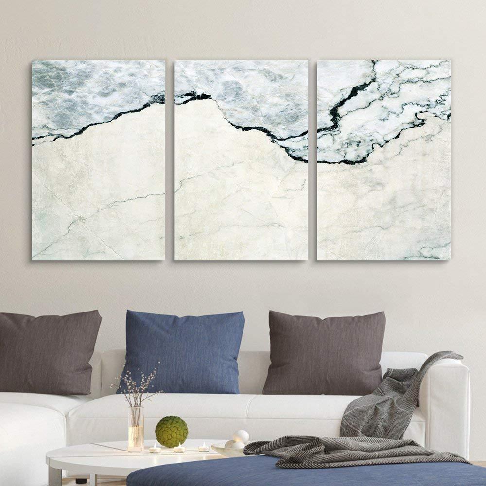 3 Panel Canvas Wall Art - Marble Texture - Giclee Print Gallery Wrap Modern Home Art Ready to Hang - 16