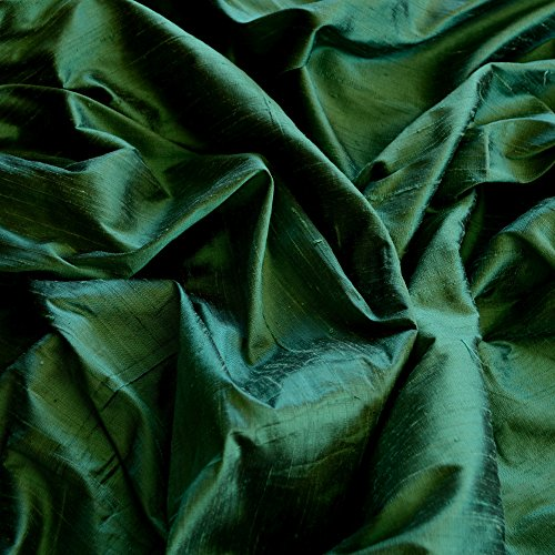 Iridescent Forest Green Dupioni Silk, 100% Silk Fabric, By The Yard, 44