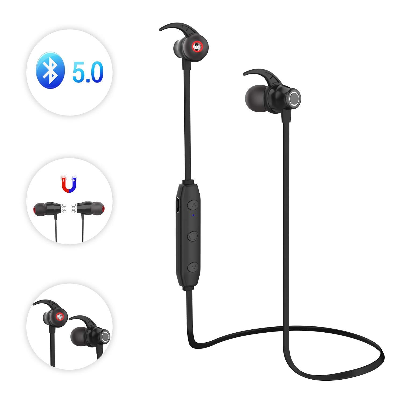 LOBKIN Cuffie Bluetooth, Auricolari Magnetici Sport Bluetooth 5.0 Ultraleggere Wireless Headset Impermeabili IP4, 6 Ore di Riproduzione Cancellazione del Rumore with Microfono