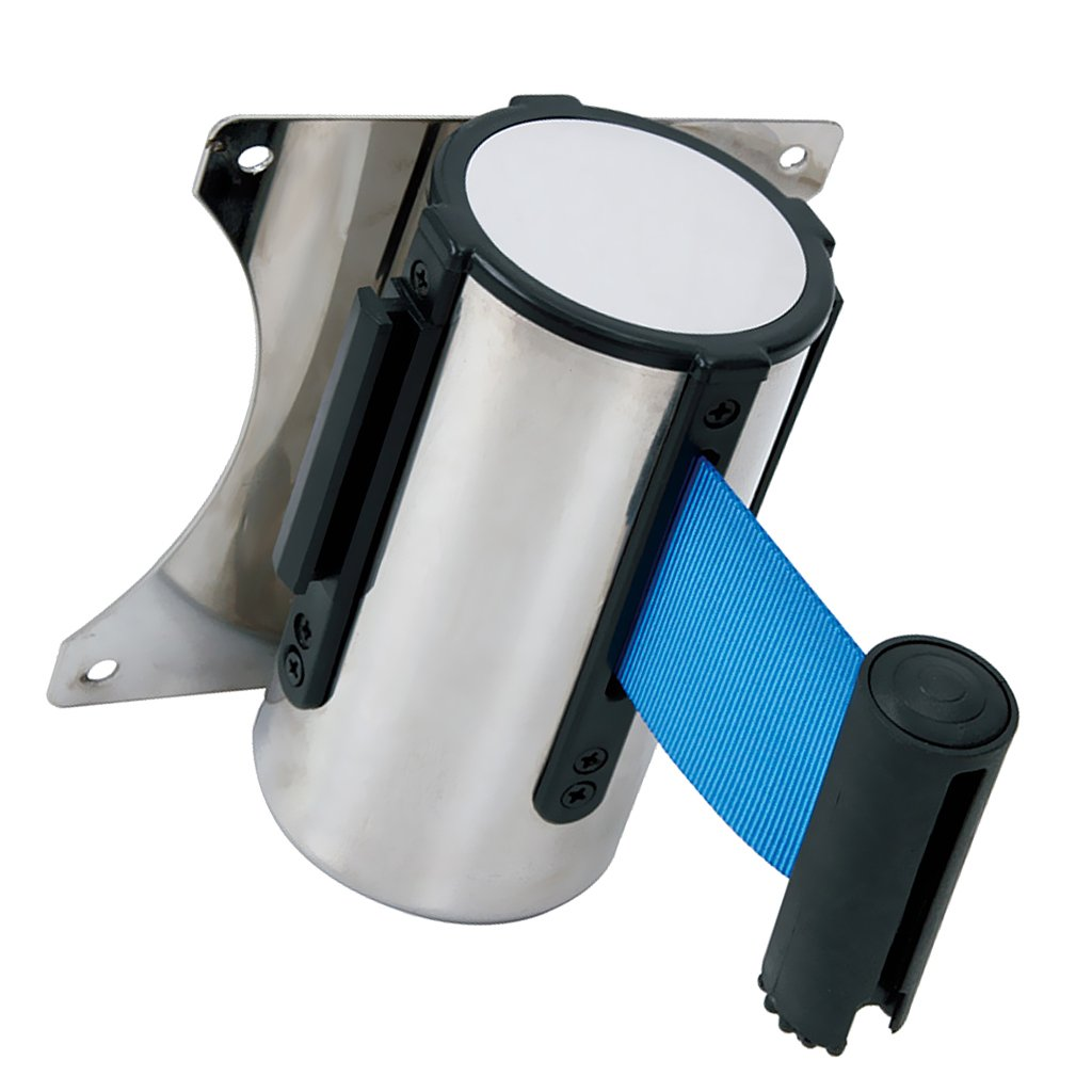 Sharplace Stanchion Queue Barrier Post Wall Mount Retractable Ribbon 2m/3m/5m Belt - Blue, 3m