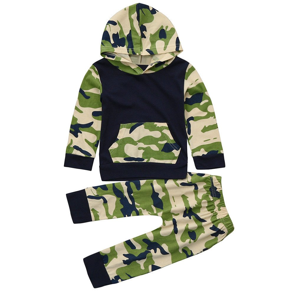 2pcs Baby Hoodie + Hosen Kleidung Set Zhen+ 0-24 Monate Unisex Neugeborenes Baby Jungen Mädchen Camouflage Druck Kapuzenpullover mit Stretch Hosen Fashion Baumwolle Pullover Outfits Set